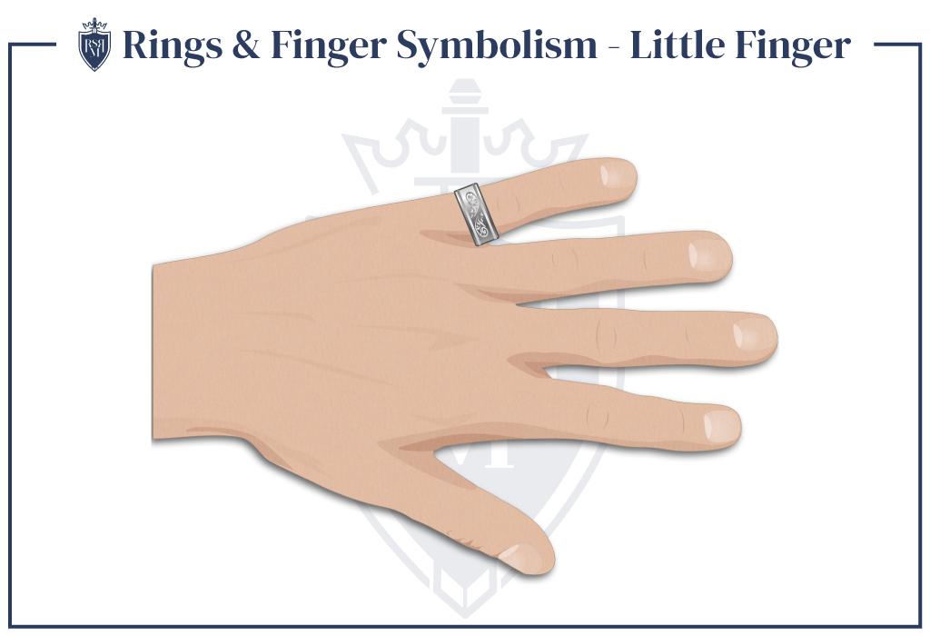ring on a man's little finger