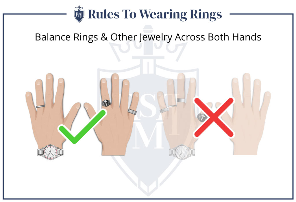balance rings other jewelry across both hands