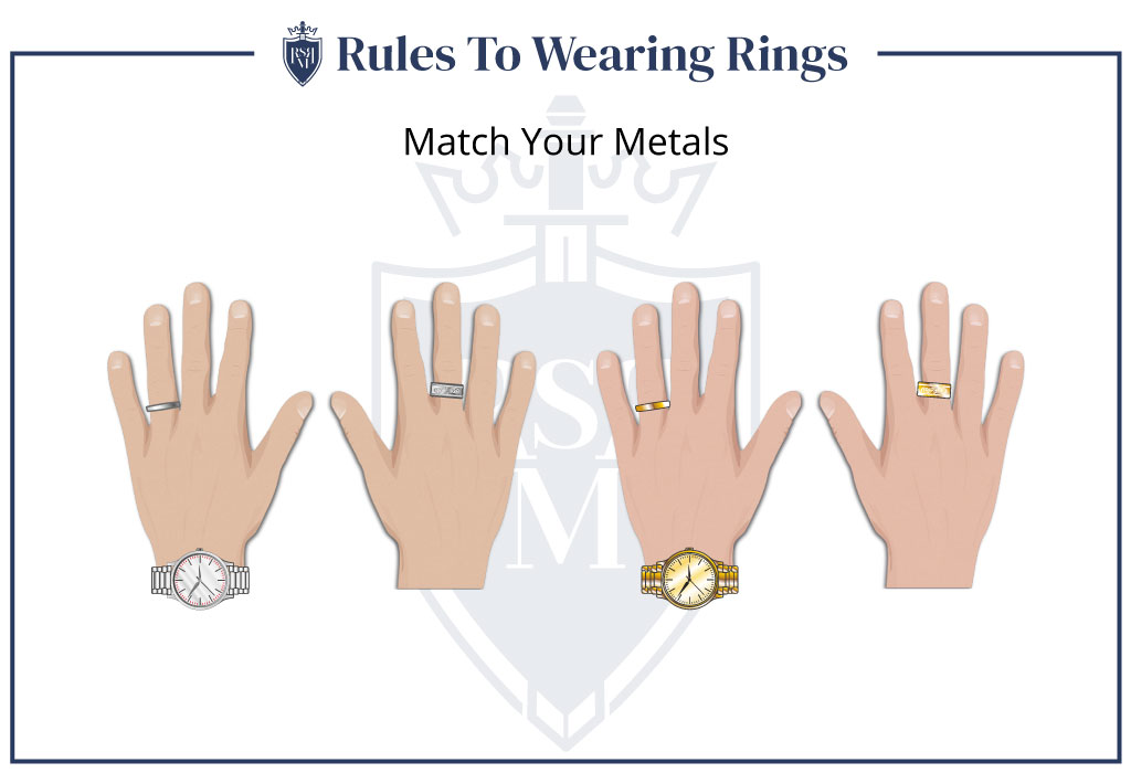 match your metals is how men should wear rings