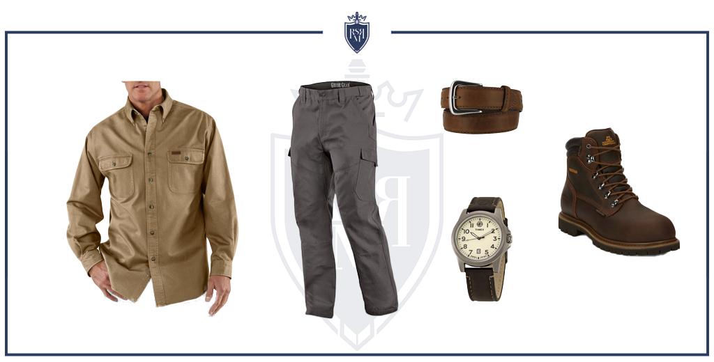camisa jeans em um look de roupa de trabalho ao ar livre (como usar camisas jeans masculinas)
