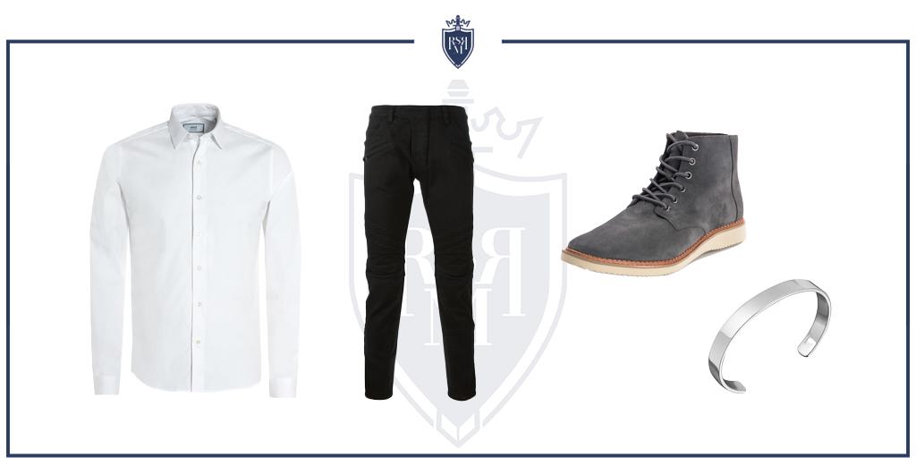 camisa de cambraia em uma roupa casual elegante (como usar camisas jeans masculinas)