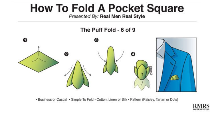 how to fold a hankie for a suit - puff