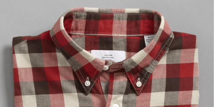 830242303dd The men's button-down shirt collar is attached to the shirt and often comes  with large casual patterns, like the red checked shirt shown.