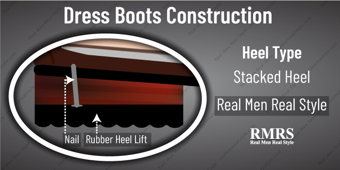 dress boots construction stacked heel