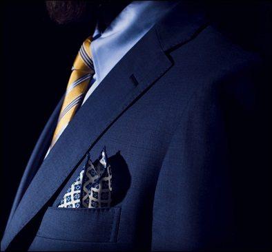 brown slacks blue blazer