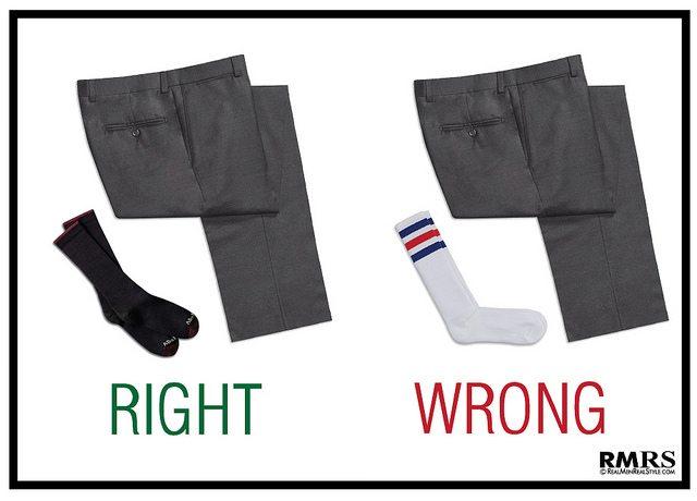 white socks with dress pants